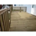 Abra su casa móvil de madera, terraza